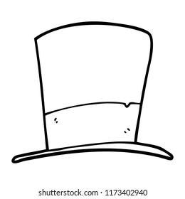 line drawing cartoon top hat