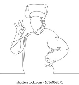 Ðiscontinuous line drawing of chef cooking gourmet meal , prepping food