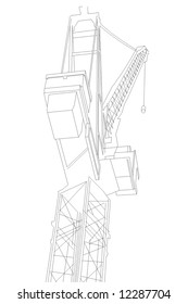 Line drawing of a crane