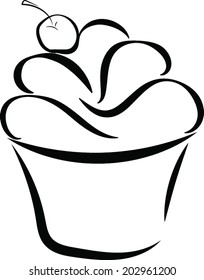 A line drawing of a cupcake