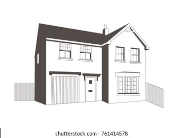 Line Drawing Of A Detached House With Internal Garage And Fence Around The  Property