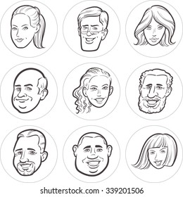 Line drawing of diverse people faces