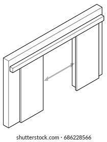 Line drawing of a double surface sliding door.