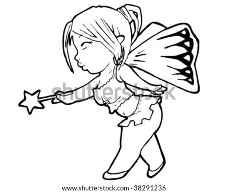 Line Drawing Fairy You Choose Colors Stock Vektorgrafik Lizenzfrei