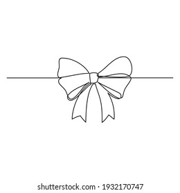 Line drawing of gift ribbon bow on white background. Templates for your designs. Vector illustration.