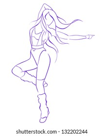 line drawing girl jumping on a white background