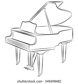 Line drawing of a grand piano. Open lid. Side view.