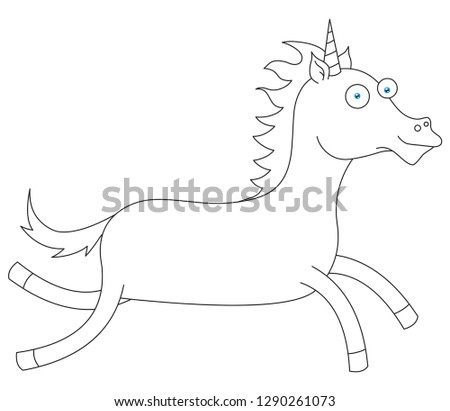 Line Drawing Happy Unicorn Stock Vector Royalty Free 1290261073