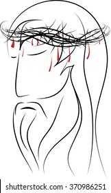 Line drawing of the head of Jesus Christ, passion of Christ, suffering man. Simple abstract vector drawing.