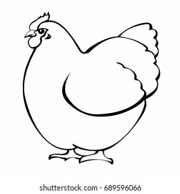 line drawing of a hen. vector illustration. Hand drawn picture