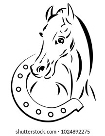 Line drawing horse head  with a horseshoe. Logo design.