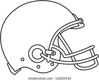 Line drawing illustration of an american football helmet viewed from the side done in black and white.