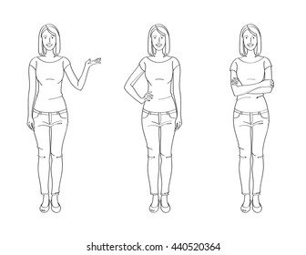 Line Drawing Illustration of Casual Woman
