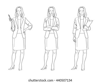 Line Drawing Illustration of Confident Business Woman