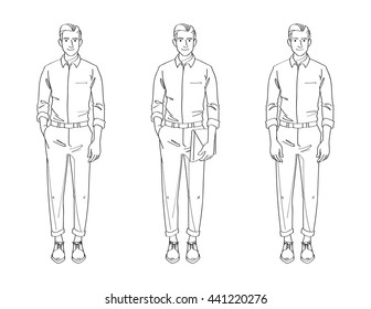 Line Drawing Illustration of Handsome Young Man In Smart Casual Wear