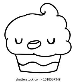 line drawing illustration kawaii of a cute cupcake