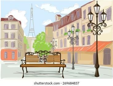 line drawing illustration of Paris. vector illustration