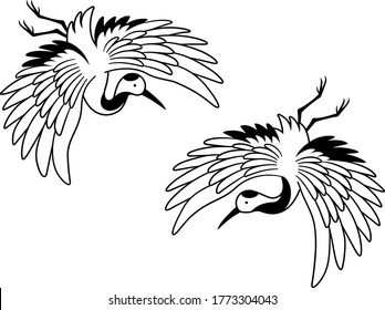 Line drawing illustration of two Japanese cranes flying downward