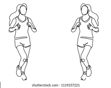 line drawing of jogging