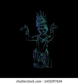 Line drawing of Khmer Apsara dancer isolation, Vector Khmer traditional dancer