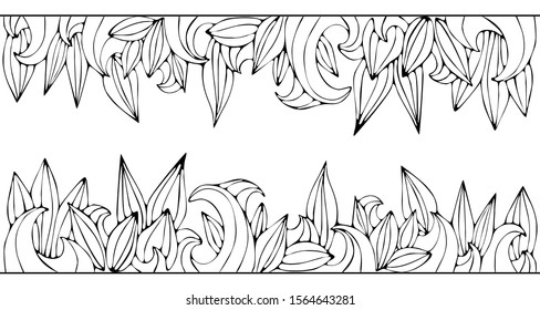 Line drawing leaf and waves on white background. Floral frame and border. Good for coloring book pages, cards, greetings.