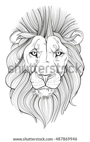 line drawing lions head vector illustration stock vektorgrafik lizenzfrei 487869946 shutterstock. Black Bedroom Furniture Sets. Home Design Ideas