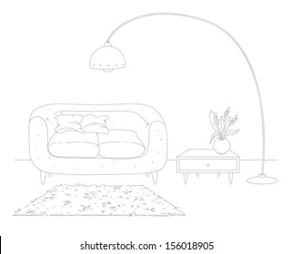 Line drawing of living room interior. Retro style. EPS 10. No transparency. No gradients.
