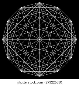 Line drawing mandala, sacred geometry, logo design element, vector illustration