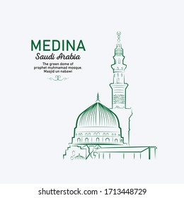 Line drawing of MEDINA, SAUDI ARABIA -  The green dome of prophet muhmamad mosque. masjid un nabawi