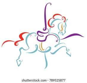 line drawing of merry-go-round horse