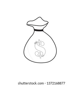 Line drawing money bag isolated over a white background
