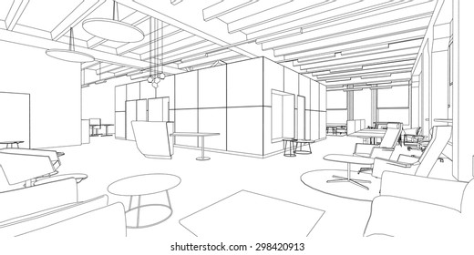 Line drawing of the office interior on a white background