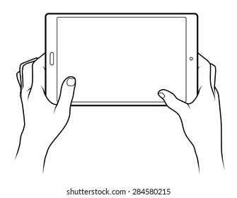 Line drawing of a pair of human male hands holding a large tablet.