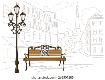 Line drawing of Paris, a bench and a lantern. vector illustration