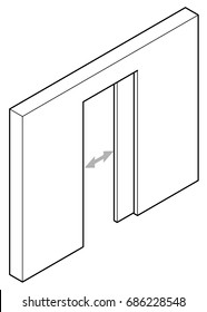 Line drawing of a pocket sliding door.