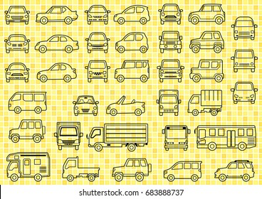 line drawing of simple car - front and side - background of grid