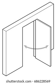 Line drawing of a simple swing door.