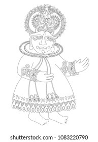 line drawing of south indian traditional kathakali dancer, vector illustration