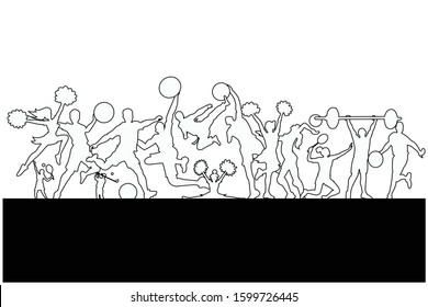 Line drawing of Sports Background. Football, Basketball, Cheerleader, Taekwondo, Volleyball, Badminton, Golf, Tennis, Weightlifting. Logo, Icon, Exercise, Equipment, Symbol. Vector illustration.