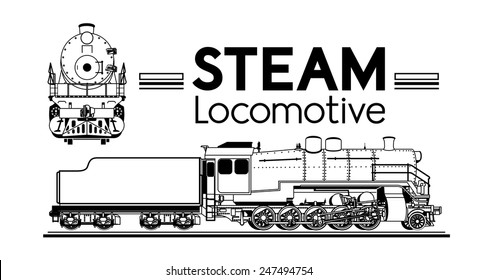 line drawing of a steam locomotive front and side