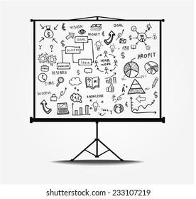 line drawing success plan . Vector illustration