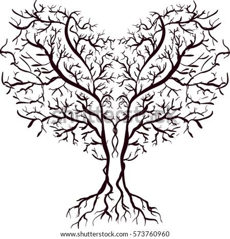 Line Drawing Tree Form Heart Center Stock Vector Royalty Free