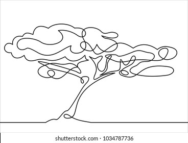 Line drawing of a tree, vector illustration-continuous line drawing
