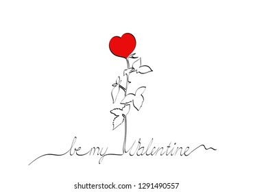 Line drawing of Valentine text and drawing in one. Red rose and text Be my Valentine. Landscape card. White background.