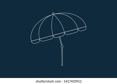 Line drawing vector of a beach umbrella on blue