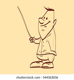 Line drawing vector illustration of an average guy presenting with a pointer