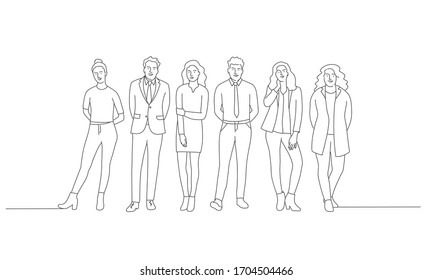 Line drawing vector illustration of people standing in a row.