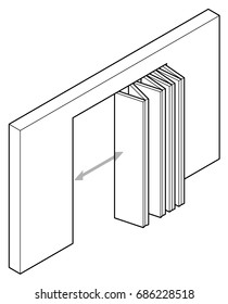 Line drawing of a wide accordion/concertina folding  door.