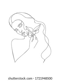 Line drawing woman with flowers. Portrait minimalistic style. - Vector illustration
