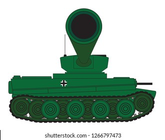 Line drawing of a World War 2 heavy German Tiger type tank looking at the barrel